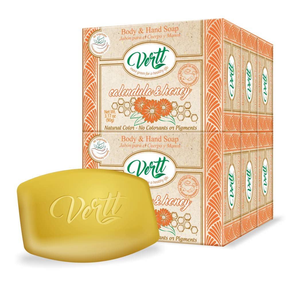 Vertt Natural Soap Bar- Pack of 6 Soaps Bars Calendula & Honey